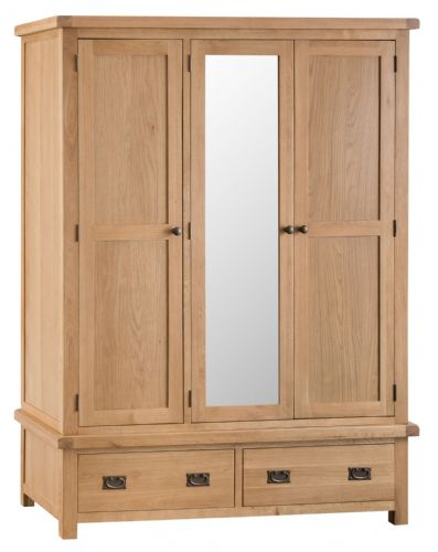 Cornish Oak Triple Wardrobe